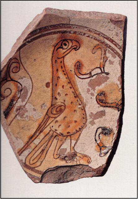 Фрагмент поливного византийского блюда с изображением птицы. Херсон. XI—XII вв. ГИМ.