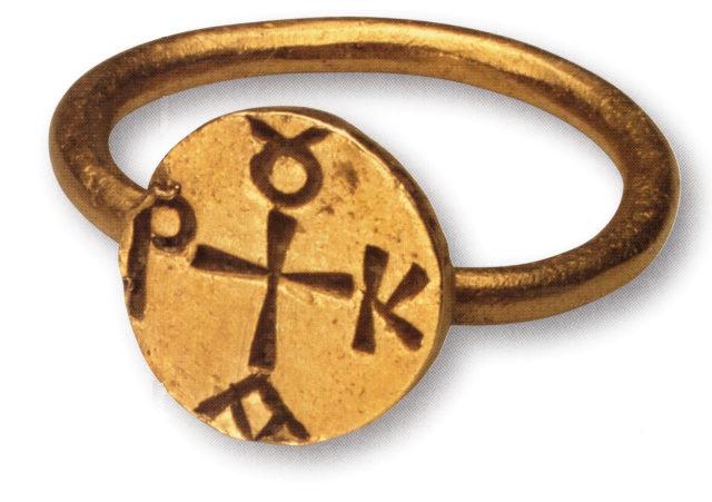 Золотой перстень с монограммой. Херсон. VII – VIII вв. ГИМ.